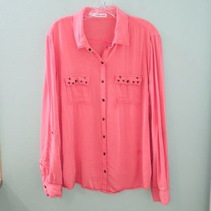 Maurice's Coral Pink Stud Embellished Button Up